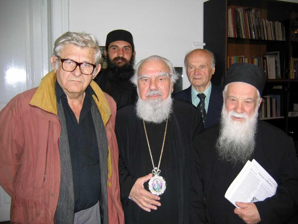 Părintele Gheorghe Calciu în România alături de Monahul Moise, Prof. Raul Volcinschi și IPS Bartolomeu Anania