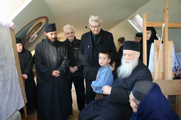 Pr. Gheorghe Calciu la Mănăstirea Diaconești în toamna anului 2006